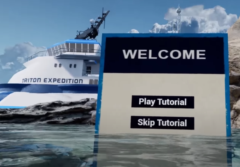 Another still from the VR video game, FREEDIVER: Triton Down. A large menu board appears in the game world, hovering above the water of a lagoon. In the background, a ship that reads TRITON EXPEDITION on the side appears.