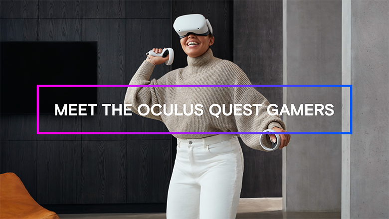 A woman in comfortable clothing plays virtual reality with an Oculus Quest headset and controllers, in a home environment.
