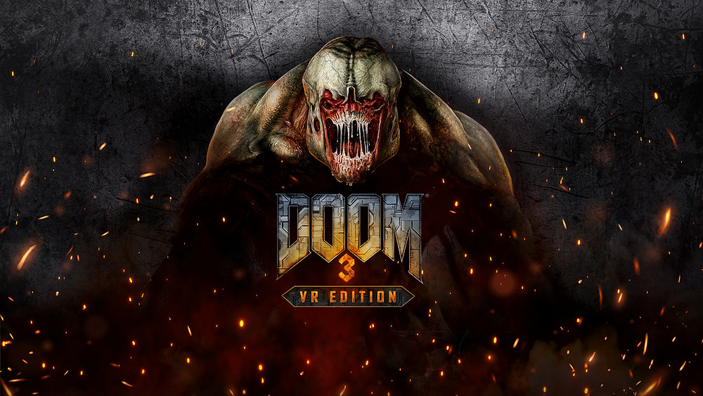 Promotional key art for the VR video game, DOOM 3: VR Edition, featuring the Hell Knight enemy glowering over the game logo. Sparks and smoke appear around the enemy.