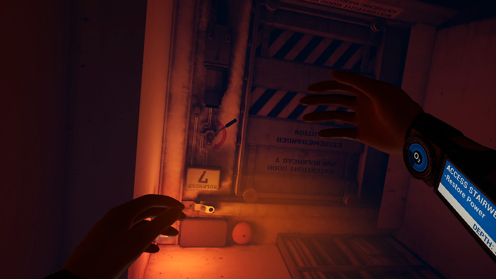 Screenshot from VR game FREEDIVER: Triton Down Extended Cut, featuring the player's arms outstretched to show the wrist-mounted interface and O2 meter. They are underwater, facing an ominously locked door.