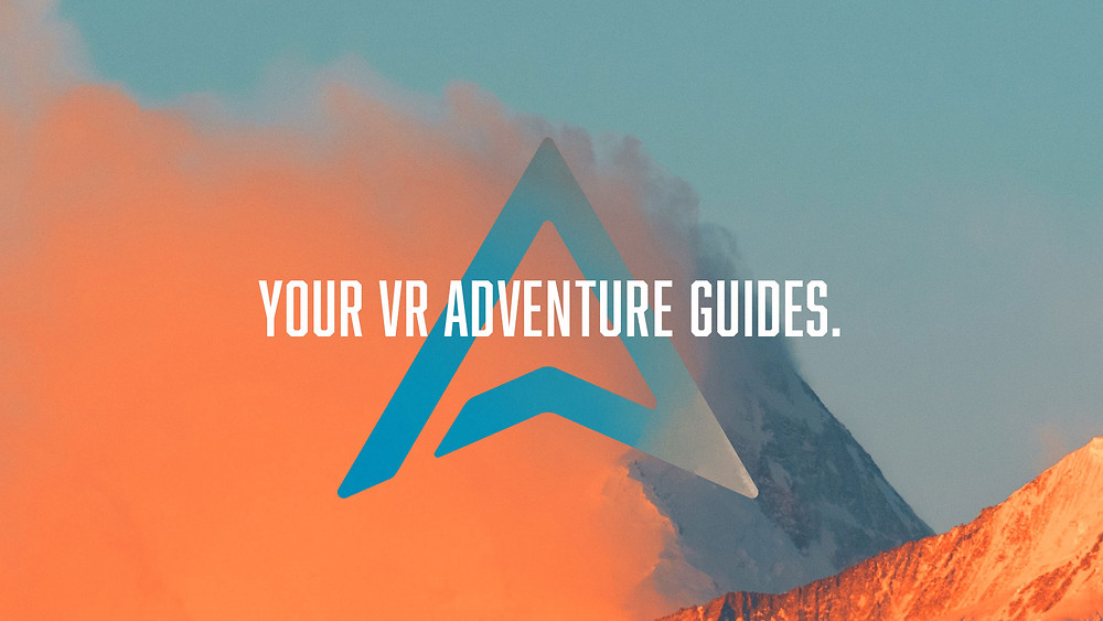 """A stylized photograph of a snowy, windswept mountain peak in vivid orange and teal. The Archiact Arrowhead logo appears in blue, with white text overlaid: """"Your VR Adventure Guides."""""""