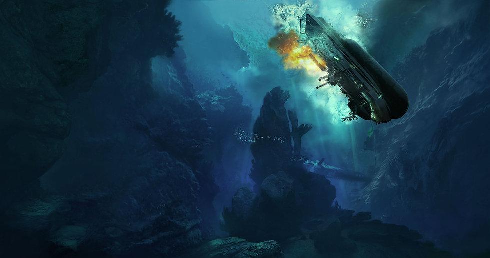 FREEDIVER: Triton Down key art with sinking ship