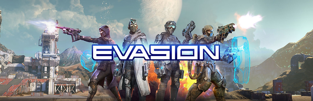 Key art for the VR game Evasion, featuring a team of four futuristic soliders standing back to back with weapons and shields drawn, firing at unseen enemies. The backdrop is a dramatic daylight planetscape. The blue and white Evasion logo appears overlaid.