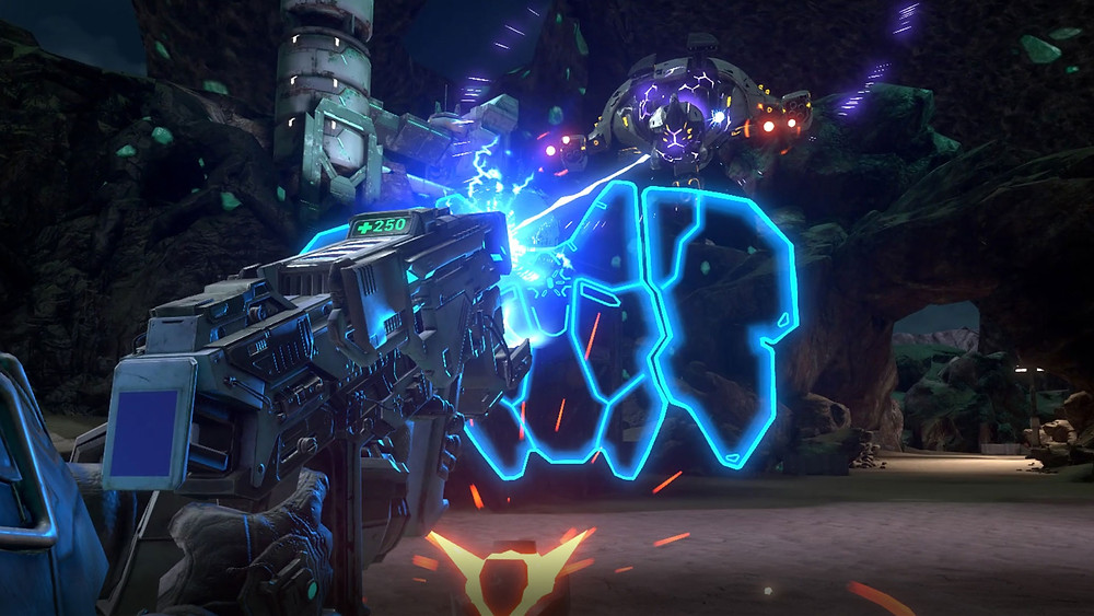 A screenshot from the VR game Evasion. The player battles a flying robotic drone enemy with a futuristic gun. The gun conveys its ammo count with a diegetic display.
