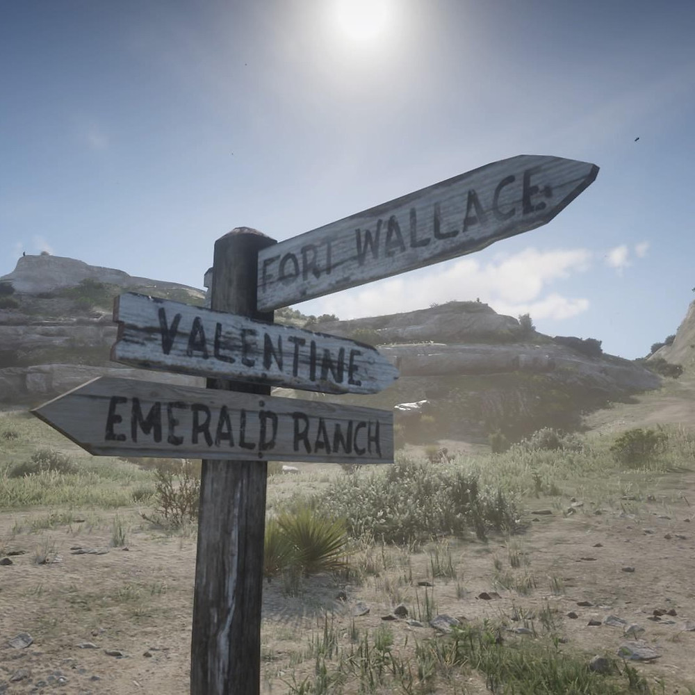 A screenshot from the video game Red Dead Redemption 2, featuring a weatherworn signpost in a dusty canyon. It points to three in-game locations: Fort Wallace, Valentine, and Emerald Ranch.