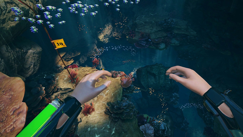 Screenshot from VR game FREEDIVER: Triton Down, featuring a the player floating with arms aloft in a calm underwater lagoon environment. Schools of brightly coloured fish swim through the invitingly blue depths below.