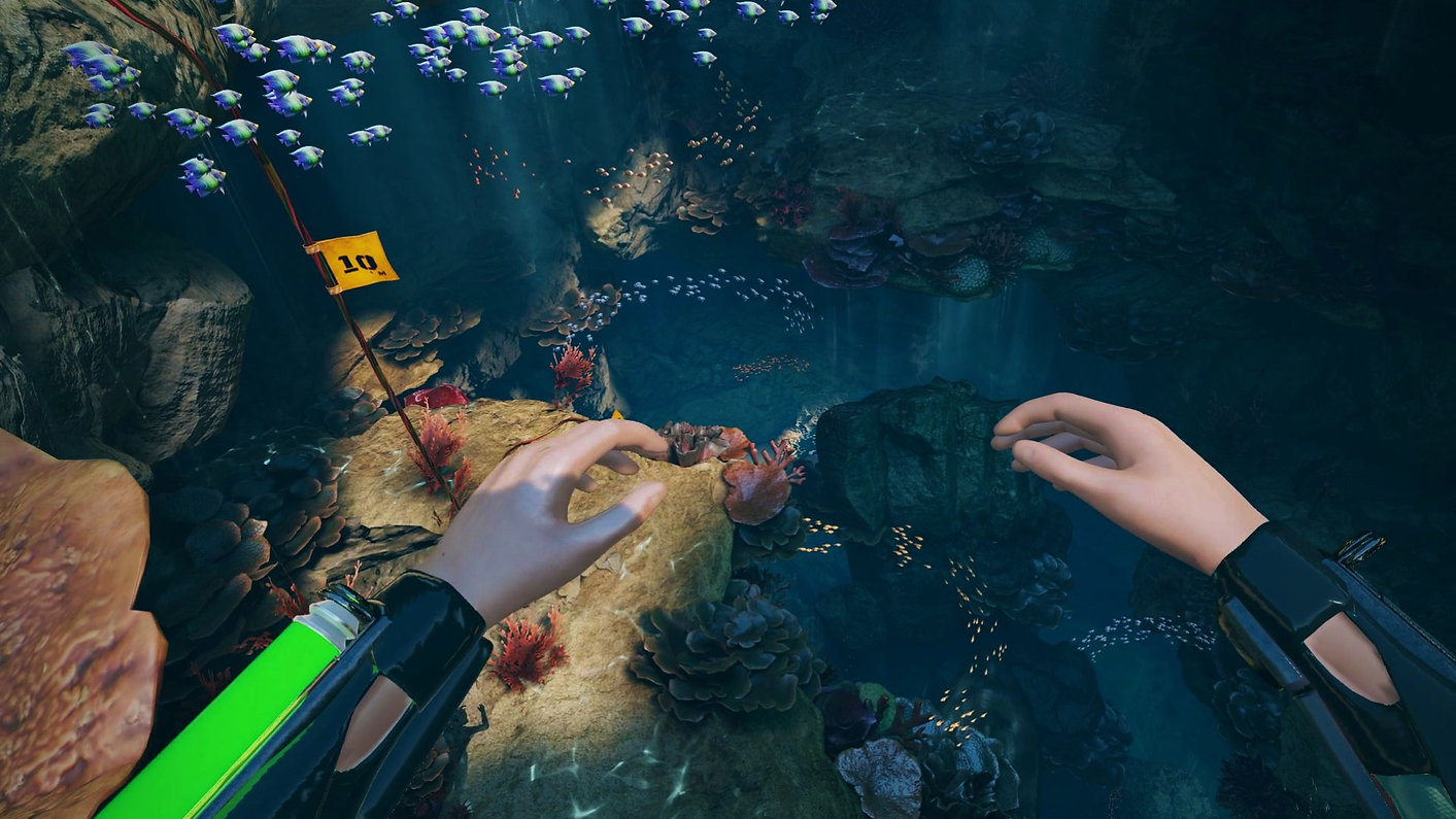 FREEDIVER: Triton Down screenshot with underwater view of colourful coral reef