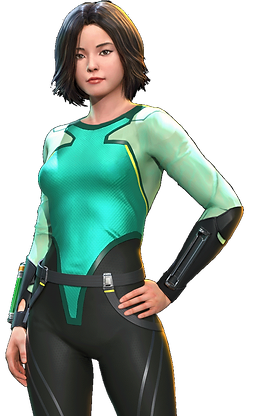 Woman diver in green, yellow and black diving suit