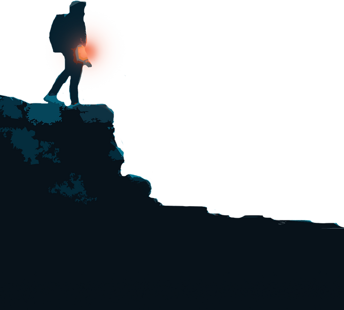Transparent image of a hiker holding a glowing orange light.