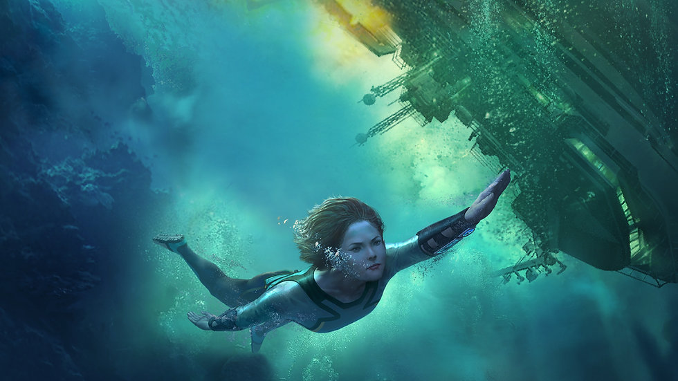 FREEDIVER Triton Down Extended Cut Key art, with woman diving away from sinking ship