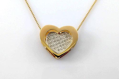 Colar Coração Duplo Folheado a Ouro e Rhodium Branco 1