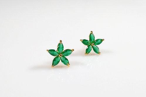 Brinco Flor Pedra de Cristal Verde 1