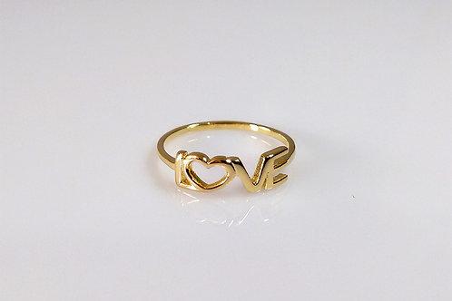 Anel Love Liso folheado a ouro 1