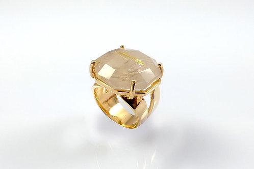 Anel Sextavado Cristal Quartzo Rutilado Folheado a Ouro 1