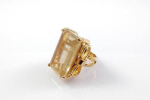 Anel Retangular Cristal Quartzo Rutilado Folheado a Ouro 1