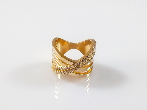 Anel Modelo X folheado a ouro 1