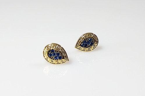 Brinco gota azul Rhodium Negro e 6 Pedras Sinteticas Azuis 1