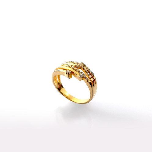Anel Fios com Pedras Zicornia Folheado a Ouro 1