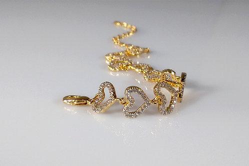 Pulseira Corações Folheado a Ouro Cravejada Pedra Zicornia 1