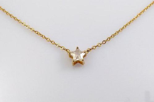 Colar Estrela Folheado a Ouro com Pedra