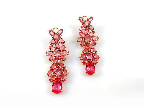 Brinco Gotas Cristal Safira Rosa Folheado a Ouro 1