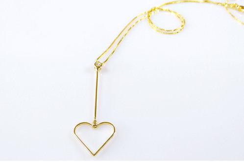 Gargantilha Ponteira de Coração Folheado a Ouro 1
