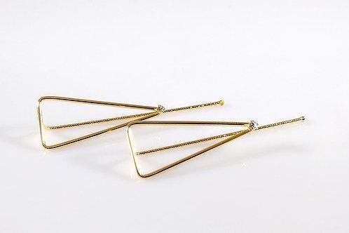 Brinco Triângulo Folheado a Ouro com Pedra 1