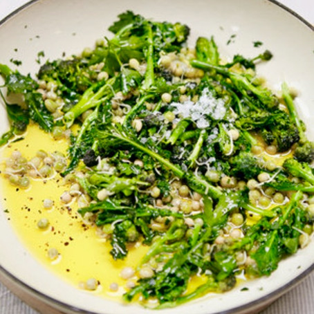 Warm Salad of Sprouted Peas & Sprouting Broccoli By Nick Barnard from Eat Right (Kyle Books)