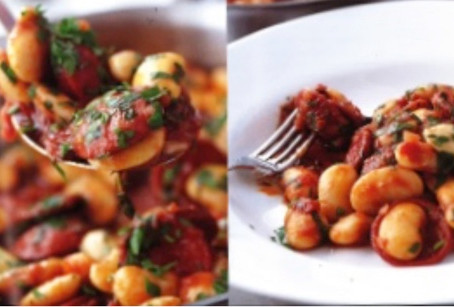 Chorizo & butter bean stew with garlic & thyme by Rick Stein from Food Heroes (BBC Books)