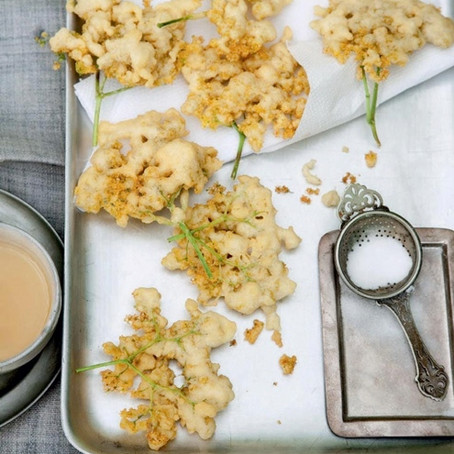 Elderflower Tempura with Elderflower Dipping Sauce