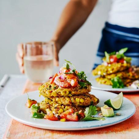 Corn Fritters with Tomato & Avocado Salsa by Rachel Ama from Vegan Eats (Ebury Press)