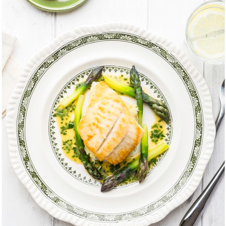 Fillet of brill with crushed Jersey Royals, asparagus & herb butter sauce