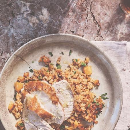 Roast Chicken with Orange, Cumin & Apricot rice