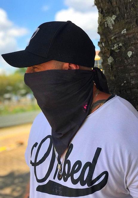 Bandana Dupla Face Black Rose