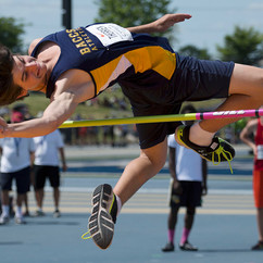 Bishop Alexander Carter Catholic Secondary School's Cole Therrien jumps over a bar while competing in the Midget Boys High Jump competition at the 2016 OFSAA Track and Field Championships June 3, 2016.