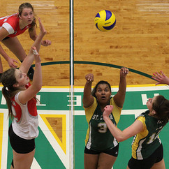 WINDSOR, Ont. (15/11/14) – Desiree Redding (middle) of the St. Clair College Saints volleys the ball towards teammate Shalena Horst (right) for a spike during an Ontario Colleges Athletic Association women's volleyball game at the St. Clair College SportsPlex in Windsor on Saturday, Nov. 15, 2014. Horst spiked the ball past Charlene De Vries (left) and Jocelyn Klompmaker of the Redeemer University College Royals to earn the point. The Saints lost to the Royals 3-2 (24-26, 25-21, 25-14, 19-25 ...