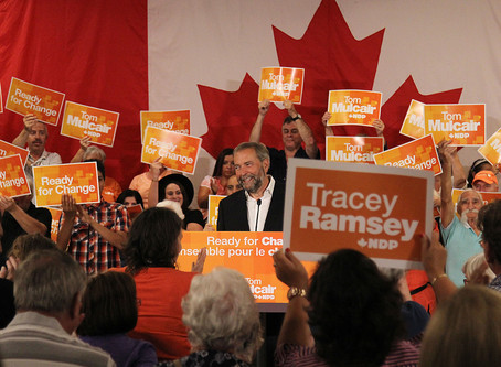 Thomas Mulcair announces automotive strategy during rally in Windsor