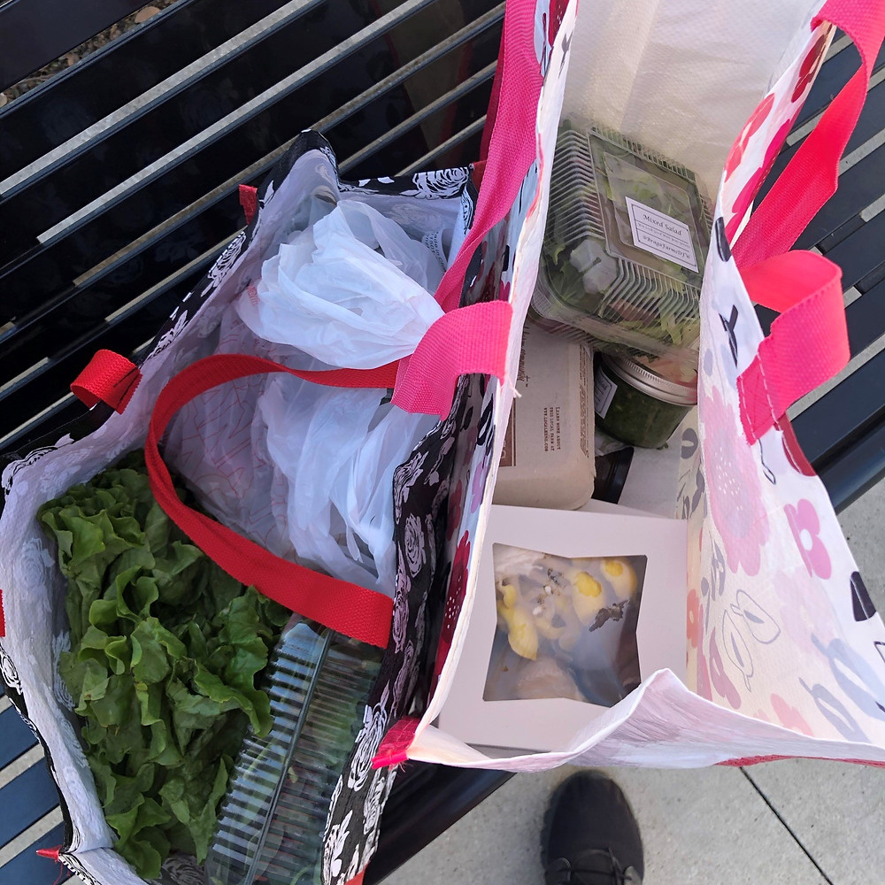Groceries in reusable shopping bags