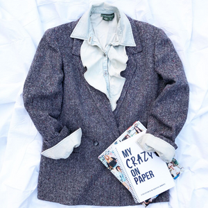 Tweed Jacket by Esprit and Bleached Out Ruffled Shirt by Ralph Lauren