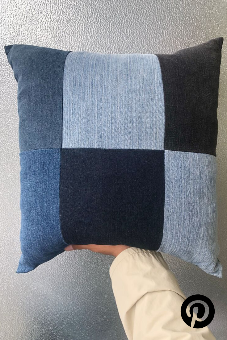 Large Denim Patchwork Pillow