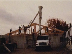 The rafters are put in place