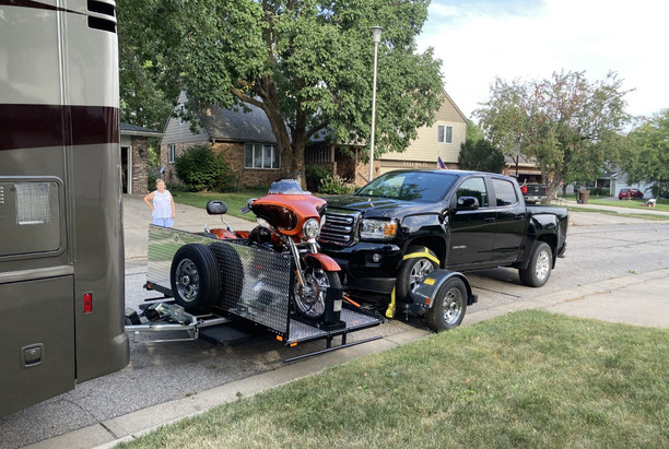 Dolly Loaded with Car and Motor Cycle