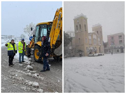 Τεράστιος όγκος χιονιού σε όλο τον Δήμο Αχαρνών - Αγώνας εκχιονισμού και παροχής βοήθειας