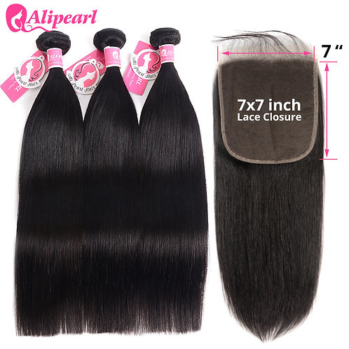 Brazilian Remy Hair Straight Weave with 7x7 Closure