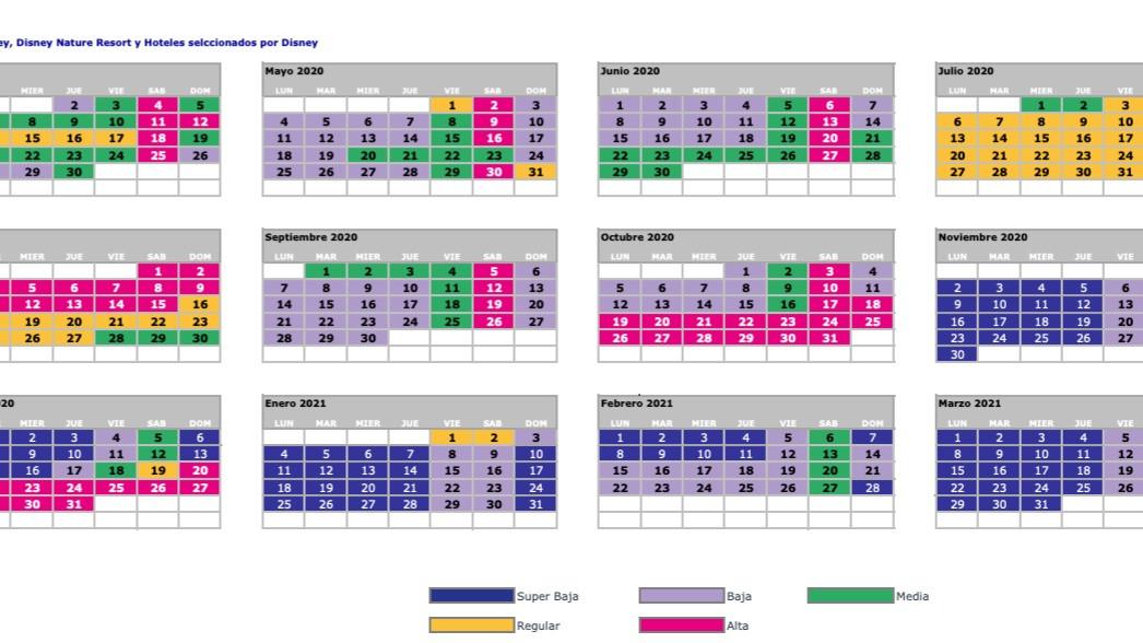 Disneyland Paris Calendario 2021 Calendario de Temporadas | Rumbo a Disneyland Paris