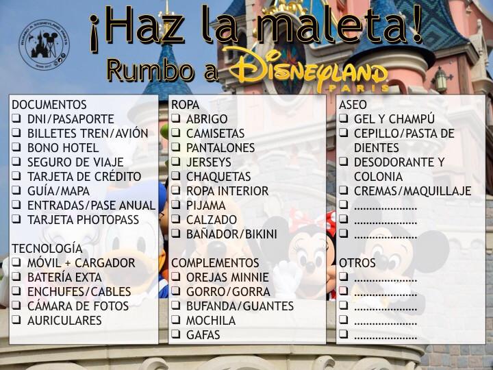 La lista para hacer la maleta rumbo a Disneyland Paris