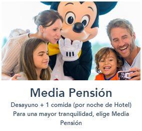 Comer cenar en Disneyland Paris ofertas ahorro viaje Disney Media Pension Completa restaurantes comida cena Desayuno desayunar