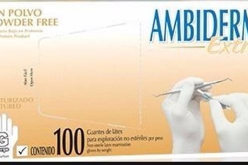 Guante de latex  talla: Grande ambiderm  sin polvo c/100 pz