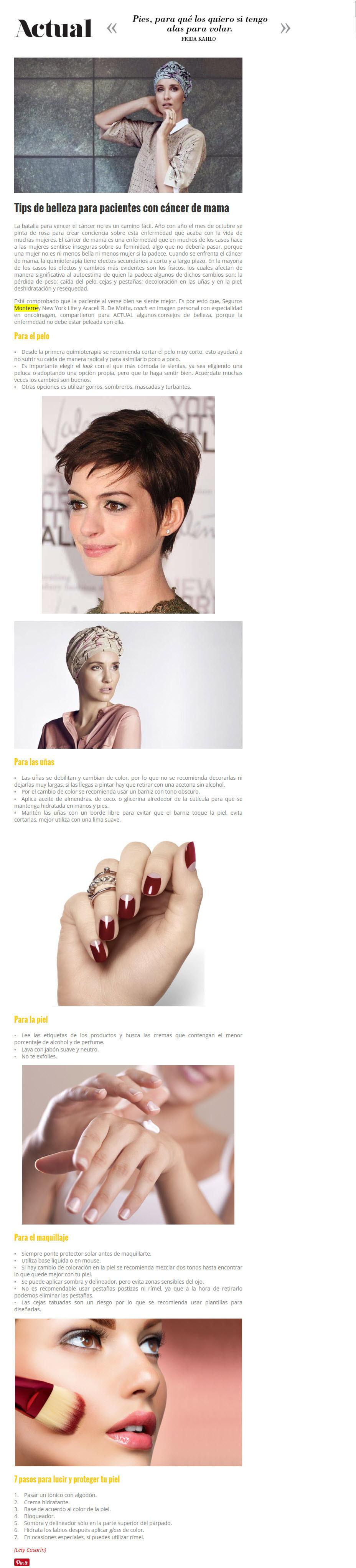 Tips de belleza para pacientes con cáncer de mama