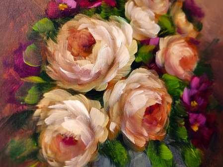 An abundance of roses in a vase
